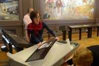 Visual Communications Officer, Jennifer Nesossis, unpacking the interpretive panels in the Cheek Mural Gallery.