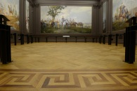 The completed parquet floors with lights and interpretive rails installed.