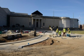 Progress on of the limestone walkway as of December 19, 2014. (VHS Collection)