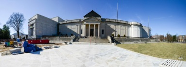 A panoramic view of the Virginia Historical Society showing the finished pedestrian plaza leading right up to our front doors. (VHS Collection)