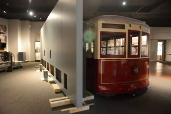This Richmond streetcar offers an opportunity to discuss the impact of electrification on Virginians. The unfinished wall at left will eventually discuss the final months of the Civil War in Virginia.