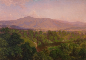 Afternoon, Hawks Bill River, Blue Ridge Mountains, about 1908, John Ross Key, Lora Robins Collection of Virginia Art, 1998.91. John Ross Key depicts part of the region of 190,000 acres that in 1935 would become the Shenandoah National Park. By celebrating the beauty of a remarkable landscape that was fast disappearing, Key actually helped to provide the impetus for its preservation.