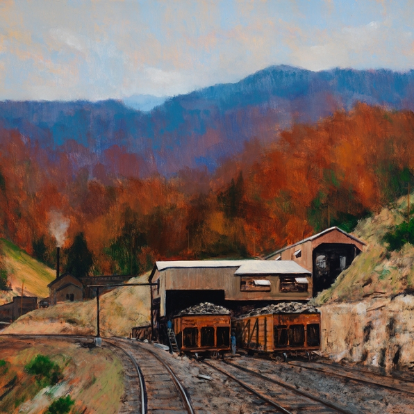 October at Tipple Mine no. 52, Dante, Virginia, 2015, William Jameson, courtesy of Warm Springs Gallery, Charlottesville, Virginia. Artist William Jameson includes in this image several of the distinctive characteristics of the Appalachian Plateau: its mountainous quality, forests, and varied terrain. At the same time, he provides evidence of both the beauty of the region and the abundant natural resources that shape its economy.