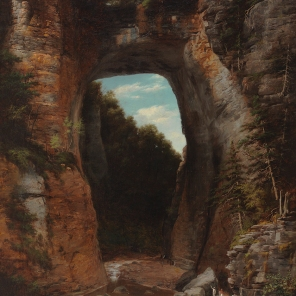Natural Bridge, 1882, Flavius Fisher, Lora Robins Collection of Virginia Art, 1995.98. By 1882, Natural Bridge was famous and accessible to tourists. They saw it as a spectacular but not a mysterious site created by some unfathomable cataclysmic event. They understood that a cavern produced by erosion had mostly collapsed, leaving Natural Bridge as a remnant of a much larger vaulted roof.