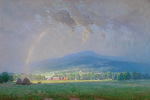 The Passing Storm, Shenandoah Valley, 1924, Alexis Fournier, Lora Robins Collection of Virginia Art, 1996.172.2. Fournier, a Minnesota painter who in 1893 had traveled to Paris for training, adapted French Impressionism to the idyllic setting of the Valley. He shows that nature is always renewing itself and, in turn, the spirit of those who depend upon the land for their well being.
