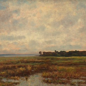 Potomac Marsh, about 1890–1900, Max Weyl, 1997.178, Lora Robins Collection of Virginia Art, 1997.178. This marshland along the Potomac River is an image of constancy and renewal. The region has not been changed since the colonial era, when George Mason developed parts of it into his plantation, Gunston Hall. It is now Mason Neck State Park and Mason Neck National Wildlife Refuge, a habitat for more than 200 species of birds and waterfowl.