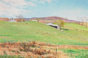 Sheep in the West Meadow, 2001–2, Andrei Kushnir, gift of Andrei Kushnir, 2004.317. The northernmost portion of the Piedmont—the area north of the Rappahannock River— rises to only 400 feet and is characterized by its remarkably fertile soil and lush, picturesque landscape. Artist Andre Kushnir found in this scene at an historic farm in Fauquier County the survival of an old Virginia tradition of rural living in an idyllic setting.