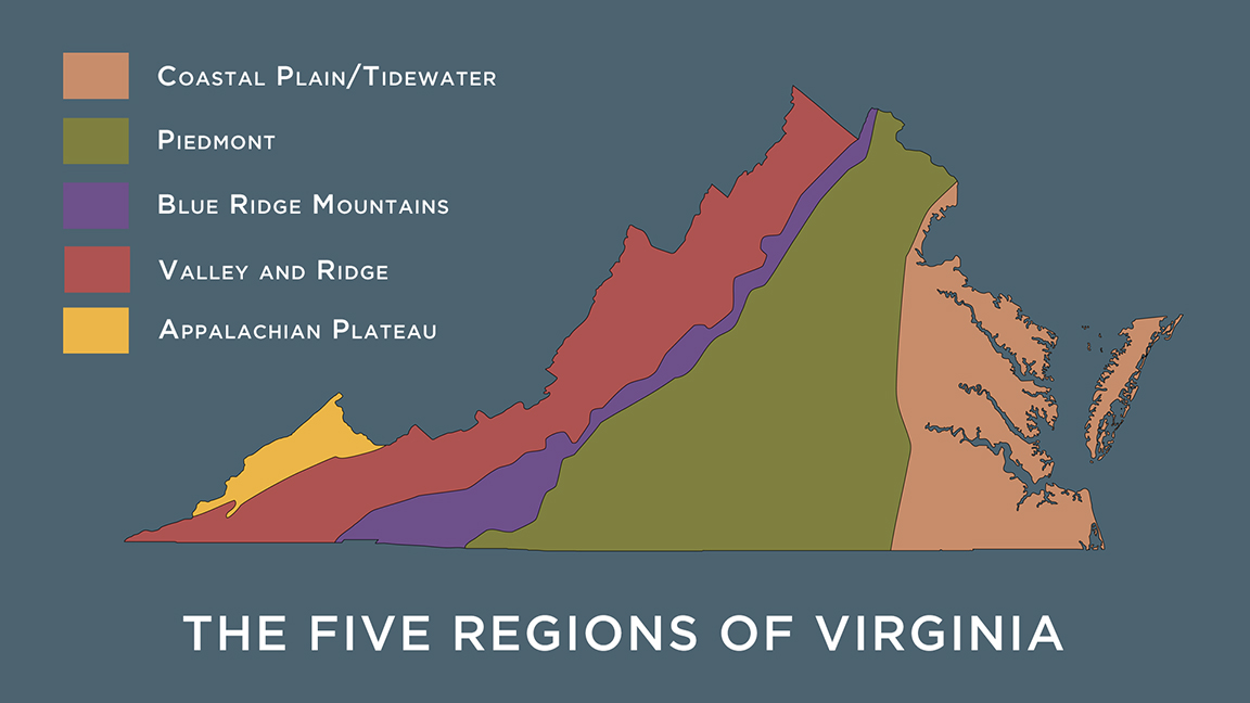 Geographic Regions Of Virginia Map.What Are The Five Physical Regions Of Virginia S Geography