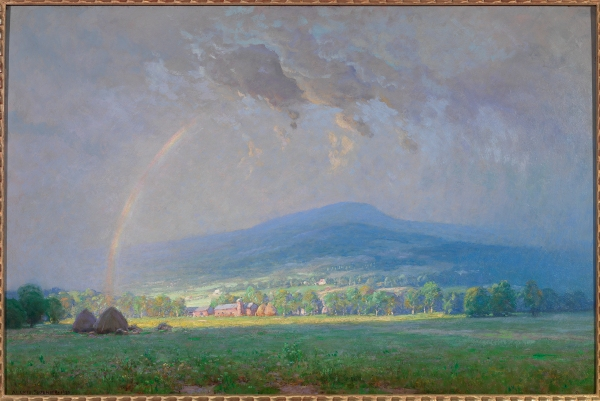 "The Passing Storm, Shenandoah Valley, 1924, Alexis Fournier, Lora Robins Collection of Virginia Art, 1996.172.2. Fournier arranged landscape elements to make this scene ""look like a pleasing picture,"" then he managed to convey his emotional response to the light, the coolness of the atmosphere, and the warm, radiant color that he saw in this setting—which is somewhere in Rockingham County or farther north."