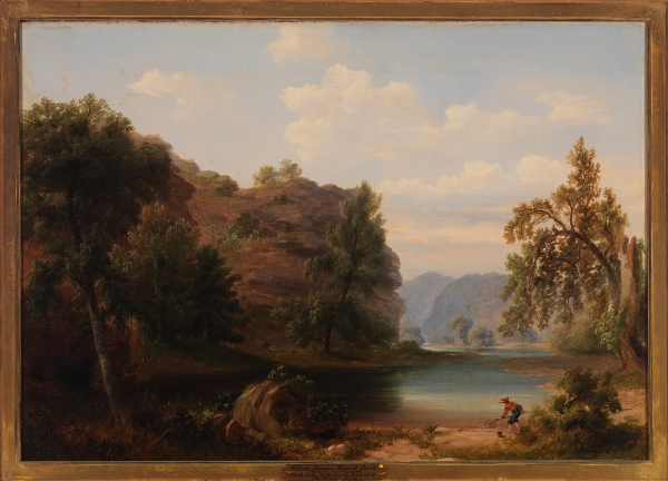 "South Fork of the South Branch of the Potomac River, about 1848, Russell Smith, bequest of Lora and Claiborne Robins, 2013.86.1. Along the bottom of drawings that he made in the field, Smith jotted down notes that are evidence that he strove to be entirely accurate. However, in this finished oil painting derived from one of his field sketches, the artist altered the types, positions, and heights of trees, and he shifted landscape features in order to construct what he considered to be a proper finished painting in the tradition of the Picturesque (""looking like a picture"")."