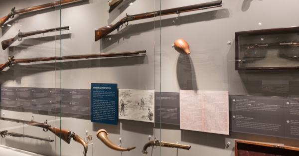 image of Arming the Commonwealth exhibit at the Virginia Historical Society. Photo by Jennifer Rohrbaugh Nesossis