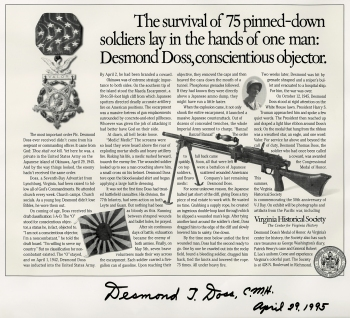 Advertisement about Desmond T. Doss,