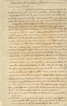 "Jefferson, unhappy with the changes made by the Continental Congress to his draft of the Declaration of Independence, made several copies of the text ""as originally framed,"" including this one, to show friends and colleagues how his text had been altered. (Original manuscript from the collections of the Massachusetts Historical Society.)"