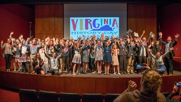 Photograph of the 2018 Virginia History Day first and second place winners at the Virginia Museum of History & Culture